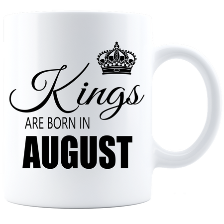 Kings are born in August Coffee Mug - White-Black - JaZazzy