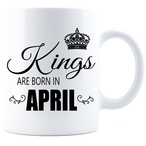 Kings are born in April Coffee Mug - White-Black - JaZazzy