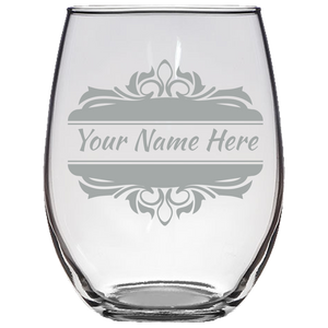 Stemless Wine Glass C25 Laser Etched - JaZazzy