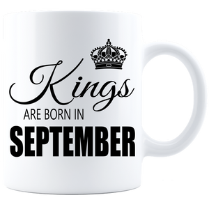 Kings are born in September Coffee Mug - White-Black - JaZazzy