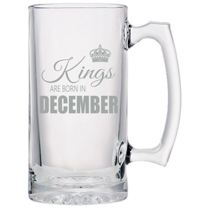Kings are born in December Beer Mug-Laser Etched - JaZazzy