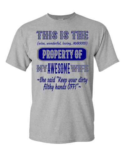 Adult Unisex T-Shirt_Property of Awesome Wife_DC_Athletic Heather - JaZazzy