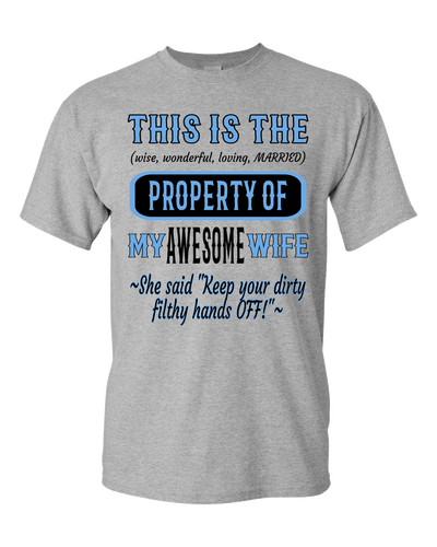 Adult Unisex T-Shirt_Property of Awesome Wife_CP_Athletic Heather - JaZazzy