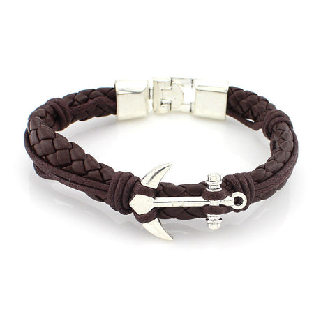 Silver Anchor with Braided Leather Fashion Bracelet. Men/Women - JaZazzy