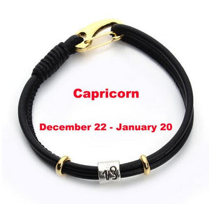 Black Leather Bracelets-Unisex Zodiac Gift - JaZazzy
