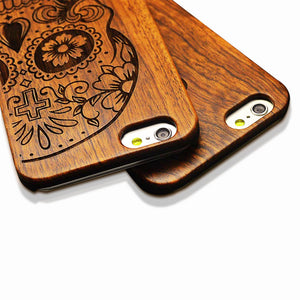 7 Plus Retro Real Wood Phone Cases For Iphone 7 7 Plus Case High Quality Durable Carving Skull Embossed Wooden + PC Cover Shell - JaZazzy