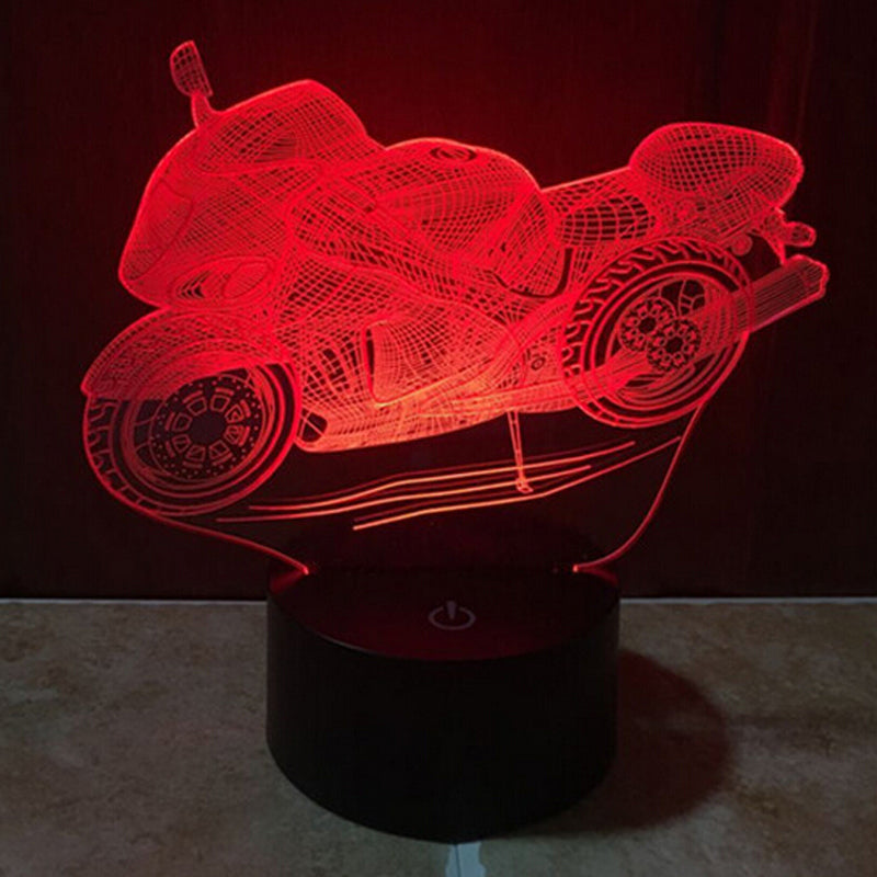 Motorcycle 3DLight 7 Color Change Night Light Home Decor Bedroom 3D Acrylic LED Art Lamp WB945 T40 - JaZazzy