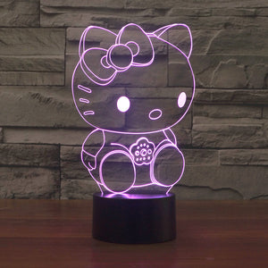 2016 new Kitty 3D Hello lights colorful touch LED visual light gift atmosphere desk lamp - JaZazzy