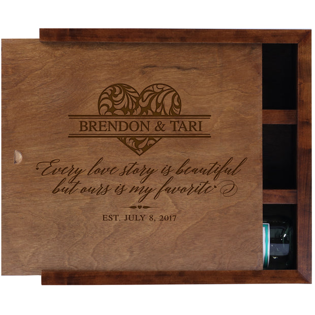 American Winekrafts Personalized Wooden Wine Storage Box - Wine Bottle Holder Gift For Home Wedding Anniversary Ceremony For Parents 13.75x4.503