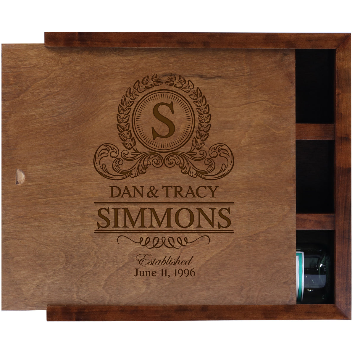 American Winekrafts Personalized Wooden Wine Storage Box - Wine Bottle Holder Gift For Home Wedding Anniversary Ceremony For Parents 13.75x4.50
