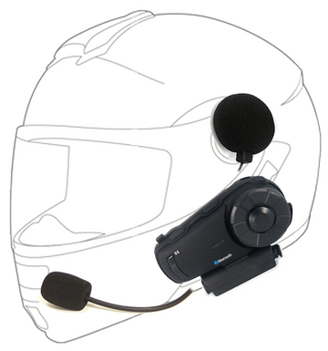 ykik Rider Motorcycle Intercom SRS3 Bluetooth and extra long range intercom unit for up to 10 riders.