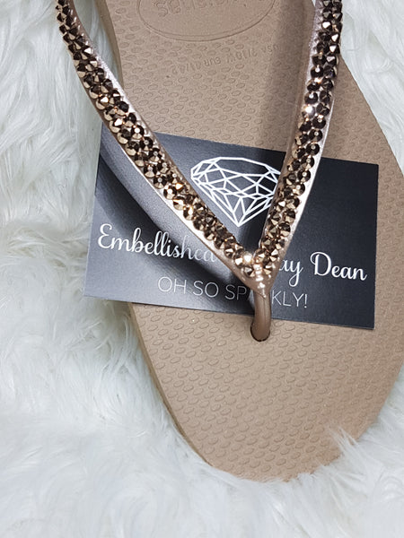 b7cf4c69f Coloured effect swarovski Crystals on Havaiana – Embellished by Jay Dean