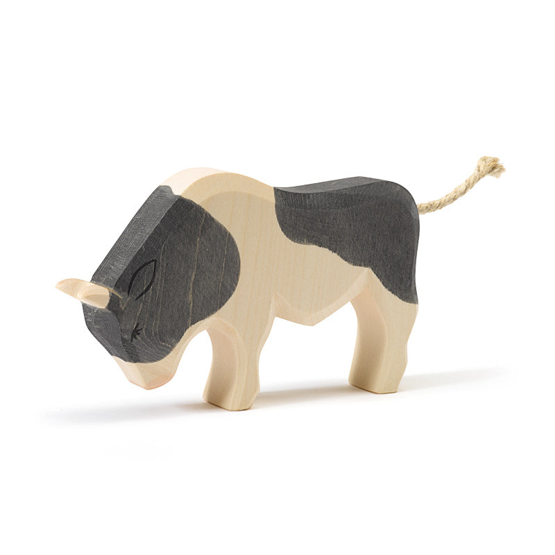 Black and White Ox Wooden Toy