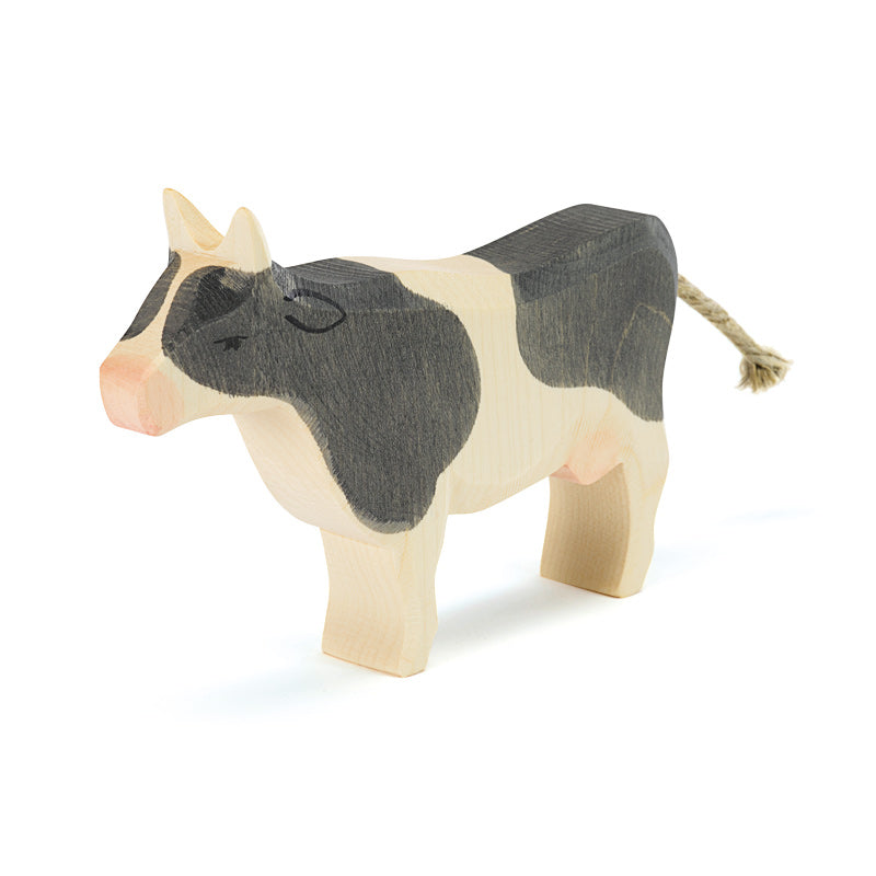 Black and White Cow Standing Wooden Toy