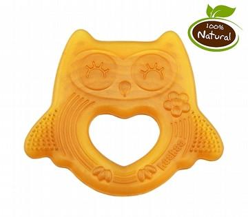 Natural Rubber Owl Teether Smiling