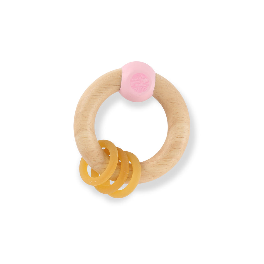 Hevea Pink Rubberwood Rattle