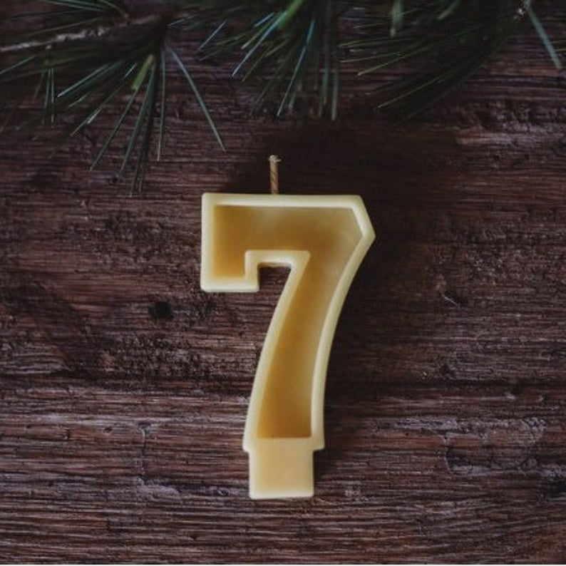 Natural Beeswax Number Seven Candle