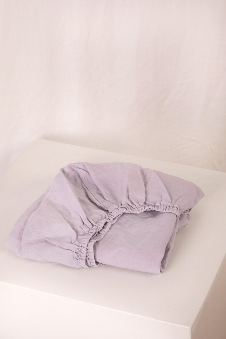 Linen Fitted Cot Sheet, Lavender