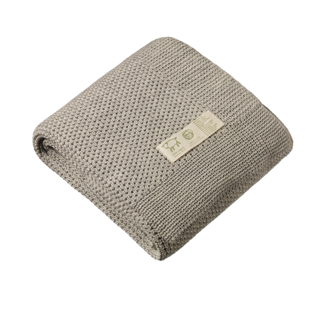 Merino Knit Blanket, Light Grey Marl