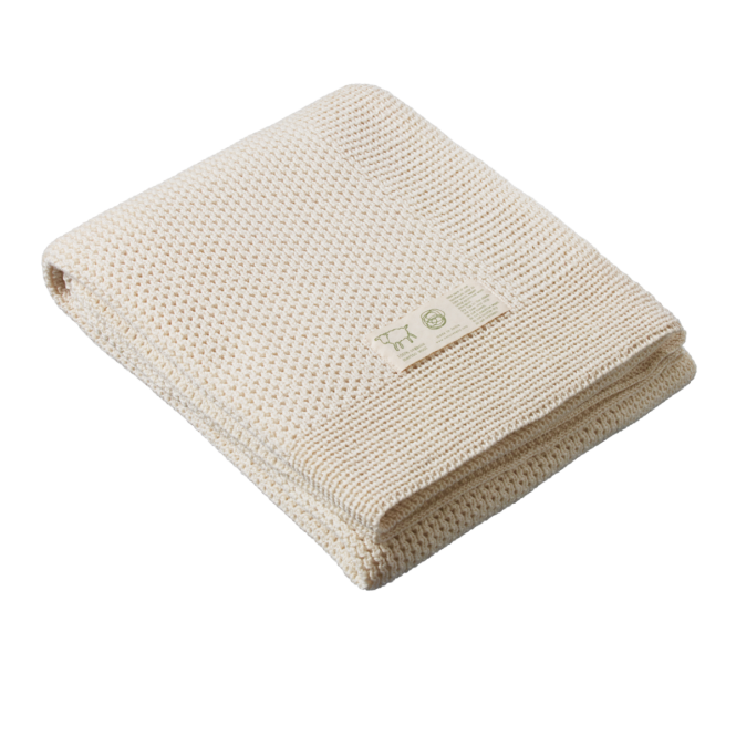 Merino Knit Blanket, Natural