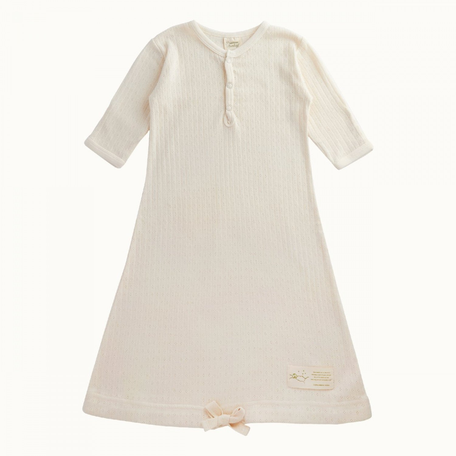 Cotton Pointelle Sleeping Gown Natural