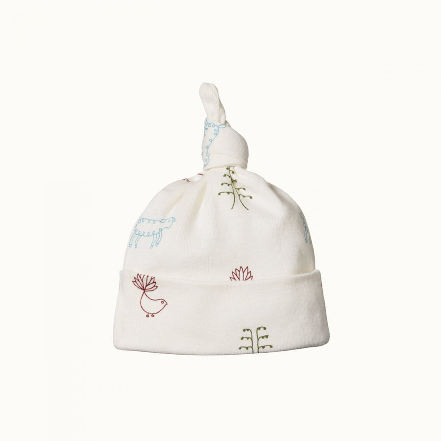 Cotton Knotted Beanie Nature Baby Print