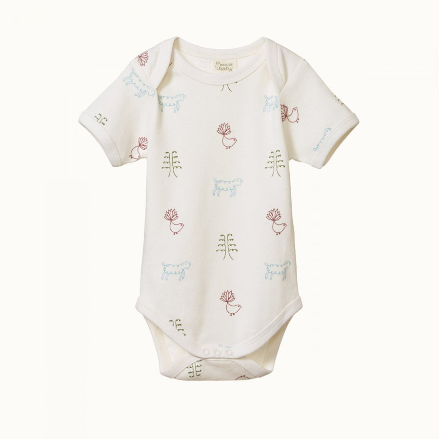 Short Sleeve Bodysuit Nature Baby Print