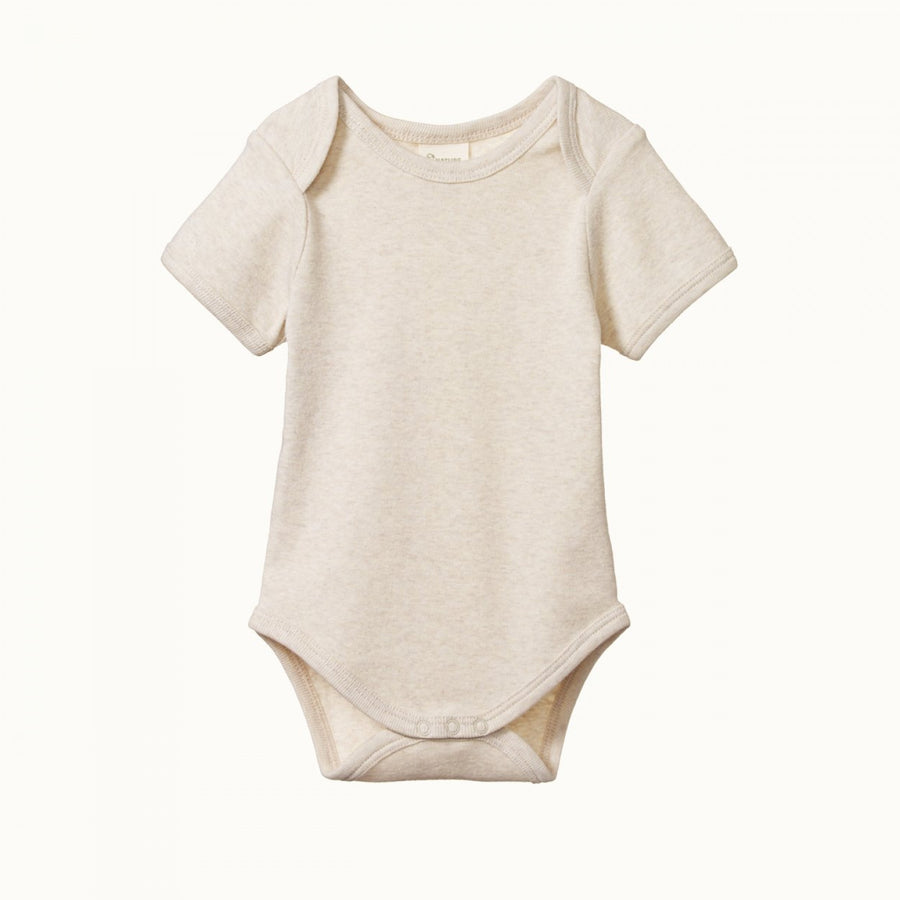 Short Sleeve Bodysuit Oatmeal Marl