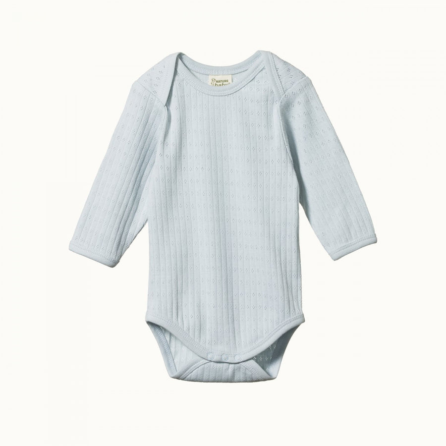 Long Sleeve Bodysuit Pointelle Pearl Blue