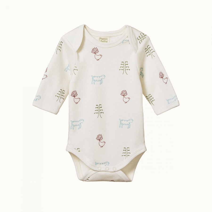 Long Sleeve Bodysuit Nature Baby Print