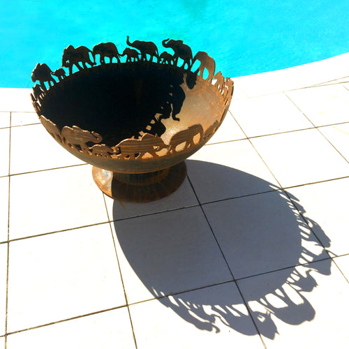 March of the Elephants - 70cm Fire Pit Bowl with BBQ Grill  *New Design Coming Soon*