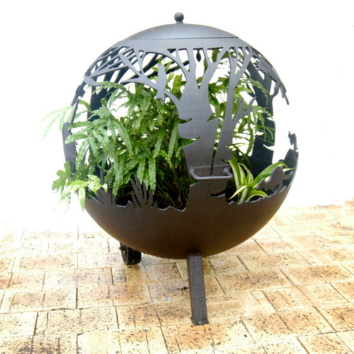 Deluxe Australiana Fire Pit Globe on Wheels with BBQ Grill