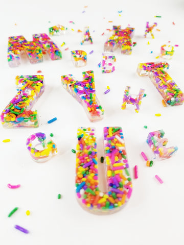 A Set of Tropical Twist  Rainbow Sprinkle Letters (minis)