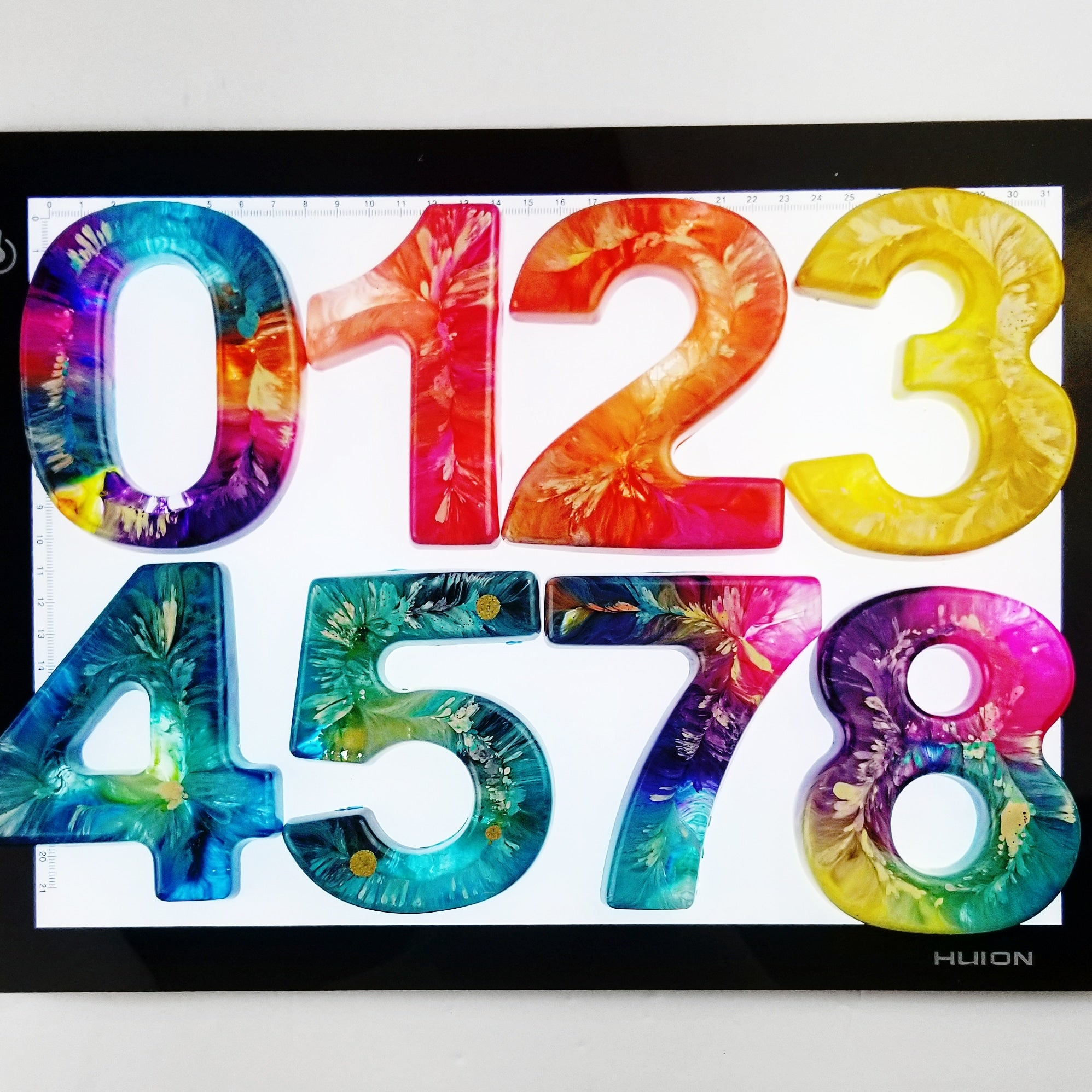 A Set of Psychedelic Resin Numbers -Combo