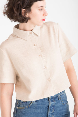 Cropped Short Sleeve Woven Button Down