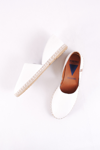 Carmen White Leather Espadrilles