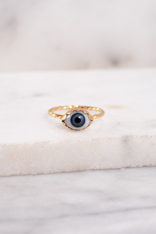 Peeping Antique Glass Eye Ring