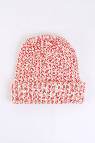 Red Marled Knit Cotton Beanie