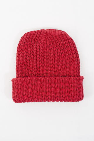 Red Knit Cotton Beanie