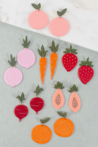 Large Fruit and Veggie Earrings