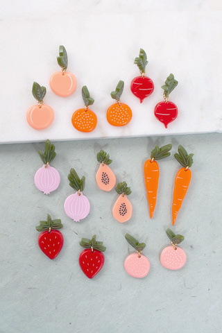 Small Fruit and Veggie Earrings