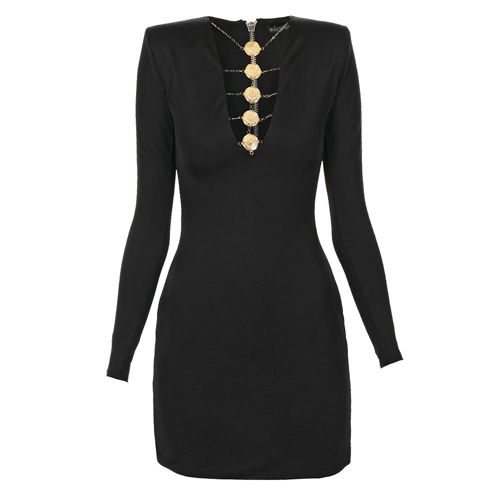 Viscose  mini  dress  with  gold  tone  medallions
