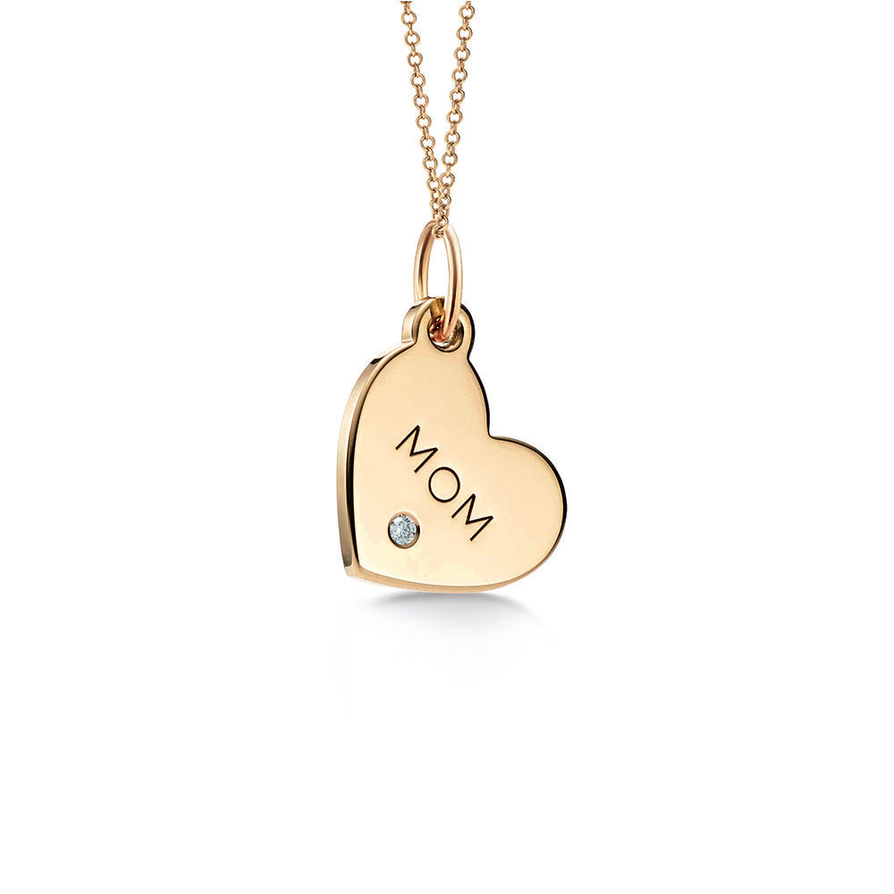 """Mom"" tag charm in18k Gold with a .01 carat diamond"
