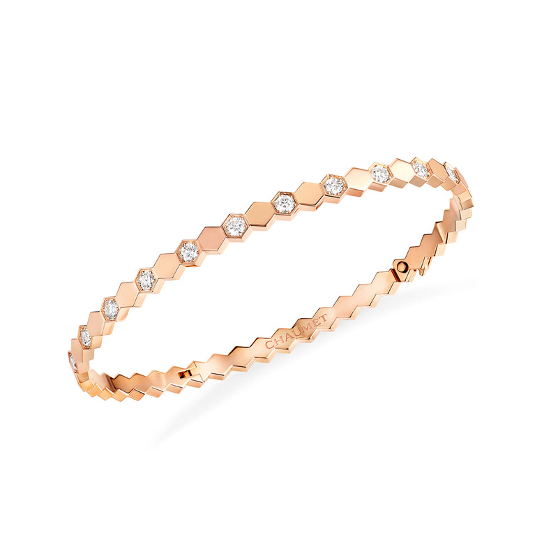 Bee My Love half pavé diamond bracelet in rose gold