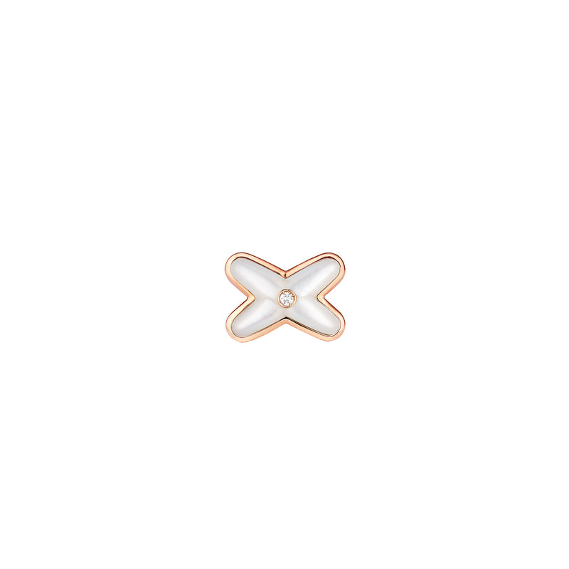 Jeux de Liens earring in pink gold, set with 1 Brilliant-cut diamond and mother of pearl