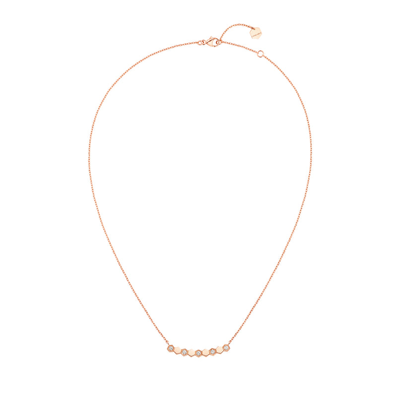 Bee My Love half pavé diamond pendant in rose gold