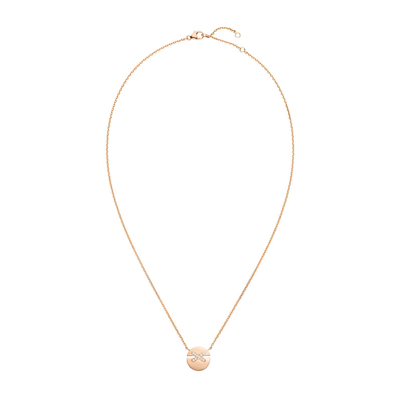 Jeux de Liens Harmony small model pendant in rose gold, set with brilliant-cut diamonds