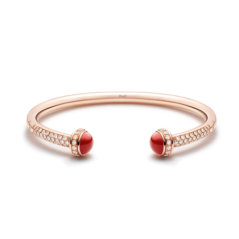 Possession Open Bangle with Diamonds and Carnelian