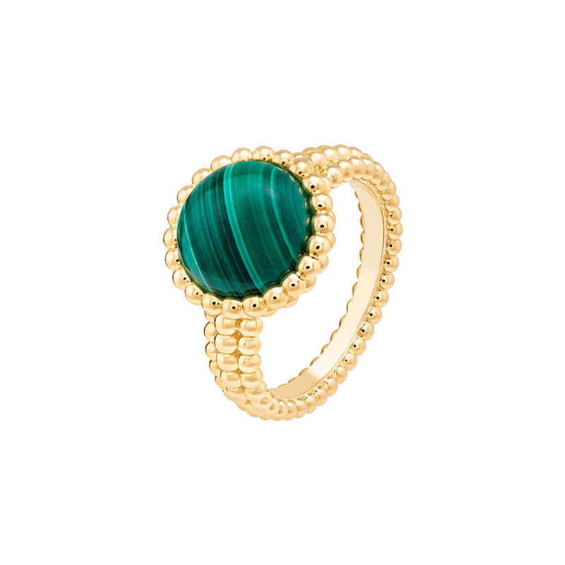 Perlée Couleurs Ring, Yellow Gold, Malachite