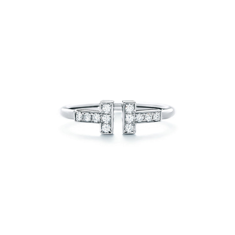 Tiffany T diamond wire ring in 18k white gold